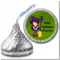 Friendly Witch Girl - Hershey Kiss Halloween Sticker Labels