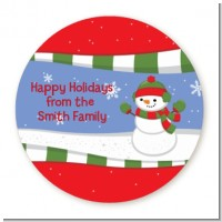 Frosty the Snowman - Round Personalized Christmas Sticker Labels