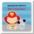 Future Firefighter - Square Personalized Baby Shower Sticker Labels thumbnail