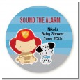 Future Firefighter - Round Personalized Baby Shower Sticker Labels thumbnail