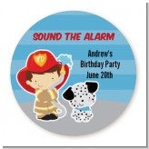Future Firefighter - Round Personalized Birthday Party Sticker Labels