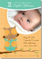 Owls | Gemini Horoscope - Birth Announcement Photo Card