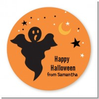Ghost - Round Personalized Halloween Sticker Labels