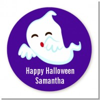 Ghost Kissing - Round Personalized Halloween Sticker Labels
