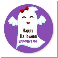 Ghost With Bow - Round Personalized Halloween Sticker Labels