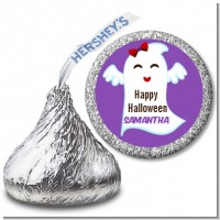 Ghost With Bow - Hershey Kiss Halloween Sticker Labels