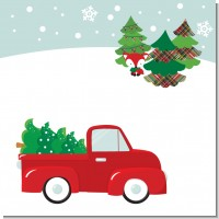 Vintage Red Truck With Tree Christmas Theme