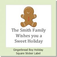 Gingerbread - Square Personalized Christmas Sticker Labels