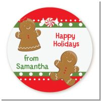 Gingerbread - Round Personalized Christmas Sticker Labels