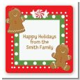 Gingerbread Party - Square Personalized Christmas Sticker Labels thumbnail