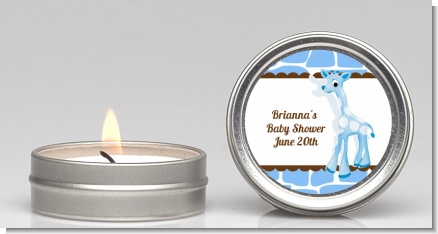 Giraffe Blue - Baby Shower Candle Favors