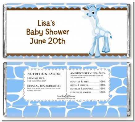 Giraffe Blue - Personalized Baby Shower Candy Bar Wrappers