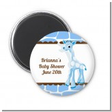 Giraffe Blue - Personalized Baby Shower Magnet Favors