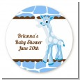 Giraffe Blue - Round Personalized Birthday Party Sticker Labels thumbnail