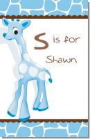 Giraffe Blue - Personalized Baby Shower Nursery Wall Art