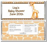Giraffe Brown - Personalized Baby Shower Candy Bar Wrappers