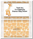 Giraffe Brown - Personalized Popcorn Wrapper Baby Shower Favors