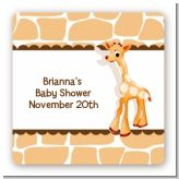 Giraffe Brown - Square Personalized Baby Shower Sticker Labels