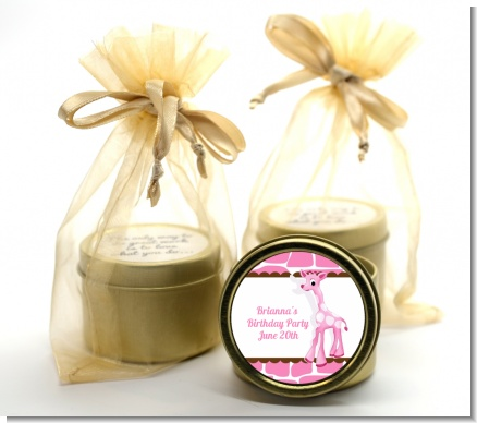 Giraffe Pink - Birthday Party Gold Tin Candle Favors