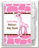 Giraffe Pink - Baby Shower Personalized Notebook Favor