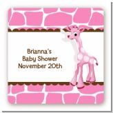 Giraffe Pink - Square Personalized Baby Shower Sticker Labels