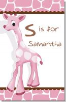 Giraffe Pink - Personalized Baby Shower Nursery Wall Art