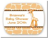 Giraffe Brown - Personalized Baby Shower Rounded Corner Stickers