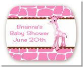Giraffe Pink - Personalized Baby Shower Rounded Corner Stickers