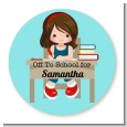 Girl Student - Round Personalized School Sticker Labels thumbnail