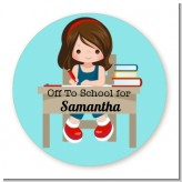 Girl Student - Round Personalized School Sticker Labels