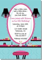 Glamour Girl Makeup Party - Birthday Party Invitations
