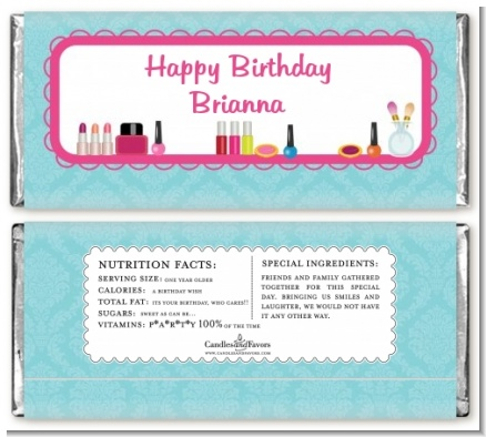 Glamour Girl Makeup Party - Personalized Birthday Party Candy Bar Wrappers