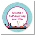 Glamour Girl Makeup Party - Round Personalized Birthday Party Sticker Labels thumbnail