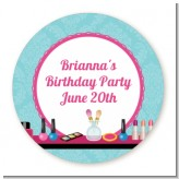 Glamour Girl Makeup Party - Round Personalized Birthday Party Sticker Labels