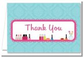 Glamour Girl Makeup Party - Birthday Party Thank You Cards