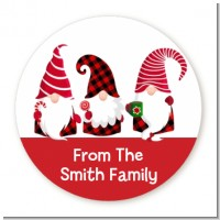 Gnome - Round Personalized Christmas Sticker Labels