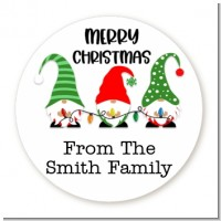 Gnome Trio - Round Personalized Christmas Sticker Labels