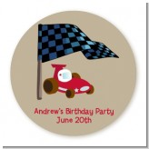 Go Kart - Round Personalized Birthday Party Sticker Labels