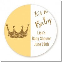 Gold Glitter Baby Crown - Round Personalized Baby Shower Sticker Labels