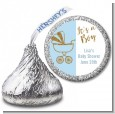 Gold Glitter Blue Carriage - Hershey Kiss Baby Shower Sticker Labels thumbnail