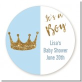 Gold Glitter Blue Crown - Round Personalized Baby Shower Sticker Labels
