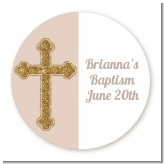 Gold Glitter Cross Beige - Round Personalized Baptism / Christening Sticker Labels