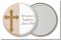 Gold Glitter Cross Beige - Personalized Baptism / Christening Pocket Mirror Favors