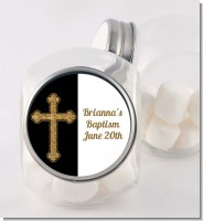 Gold Glitter Cross Black - Personalized Baptism / Christening Candy Jar