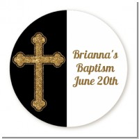 Gold Glitter Cross Black - Round Personalized Baptism / Christening Sticker Labels