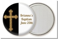 Gold Glitter Cross Black - Personalized Baptism / Christening Pocket Mirror Favors