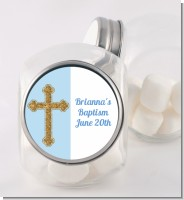 Gold Glitter Cross Blue - Personalized Baptism / Christening Candy Jar
