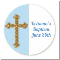 Gold Glitter Cross Blue - Round Personalized Baptism / Christening Sticker Labels