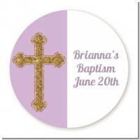 Gold Glitter Cross Lavendar - Round Personalized Baptism / Christening Sticker Labels