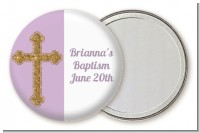 Gold Glitter Cross Lavendar - Personalized Baptism / Christening Pocket Mirror Favors